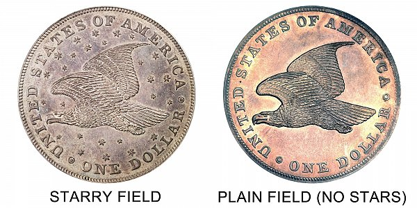 1836 Gobrecht Dollar Starry Reverse vs Plain Field Varieties - Difference and Comparison