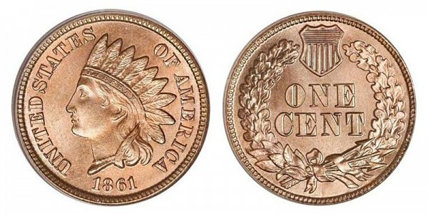 1861 Indian Head Cent Penny - Copper-Nickel CN