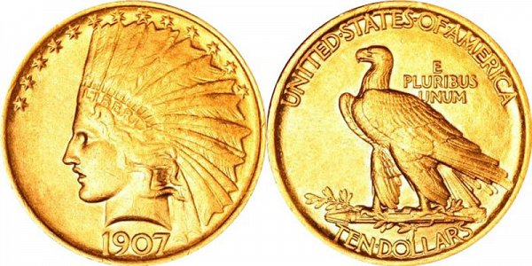 Indian Head Gold $10 Eagle Type 1 - No Motto US Coin