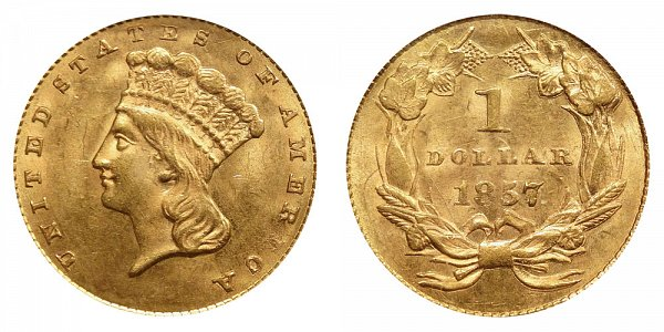 1857 Large Indian Princess Head Gold Dollar G$1