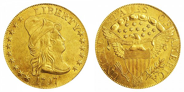 Robert Scot - $10 Gold Turban Head Eagle, Heraldic Eagle Reverse Design