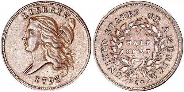 1793 Liberty Cap Half Cent Penny - Head Facing Left