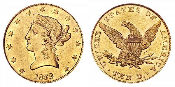 1839 Small Letters - Type of 1840 - Liberty Head $10 Gold Eagle - Ten Dollars