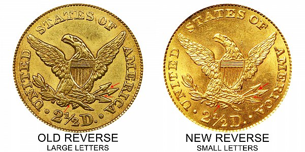 1861 Old Reverse vs New Reverse Liberty Head $2.50 Gold Quarter Eagle - Difference and Comparison