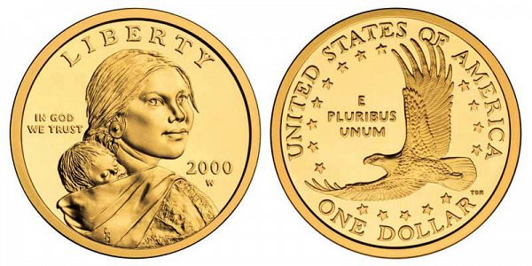 2000 W Sacagawea Dollar - 22 Karat Gold Proof