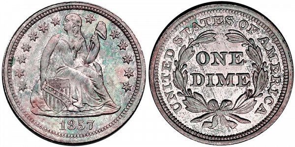 Seated Liberty Dimes Type 2 Resumed - Stars and Drapery on Obverse US Coin