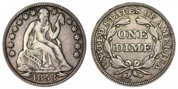 1853 Seated Liberty Dime - Type 3 With Arrows At Date