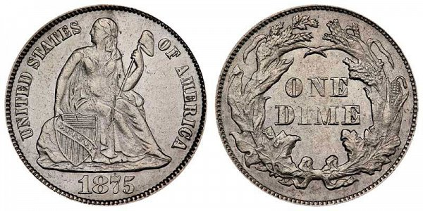 1875 Seated Liberty Dime - No Arrows
