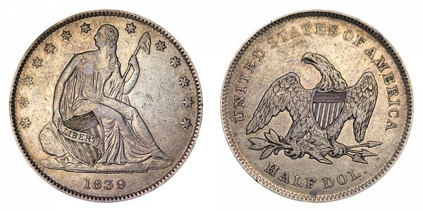 1839 Seated Liberty Half Dollar - With Drapery From Elbow