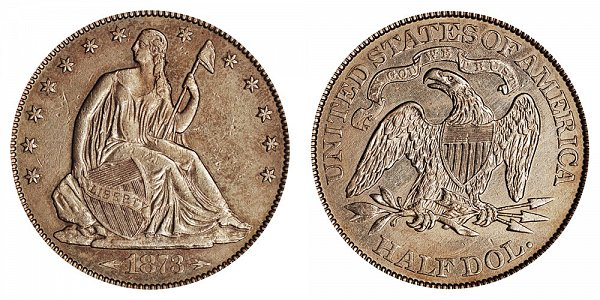 1873 CC Seated Liberty Half Dollar - With Arrows At date