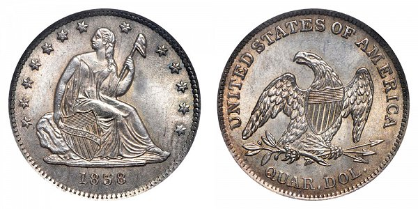 Seated Liberty Quarters Type 1 - No Motto Above Eagle - No Drapery US Coin