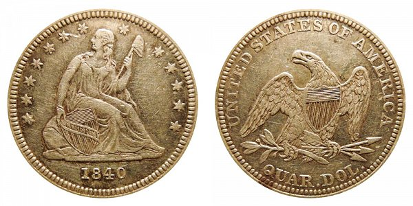 1840 Seated Liberty Quarter - With Drapery Added