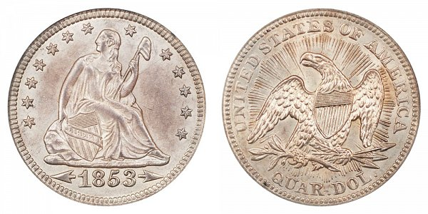 1853 Seated Liberty Quarter - Arrows At Date With Rays