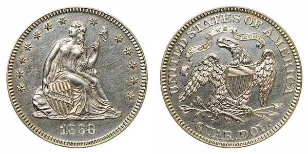 Seated Liberty Quarters Type 4 - Motto Above Eagle US Coin