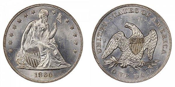 1860 O Seated Liberty Silver Dollar