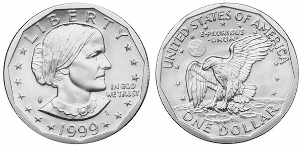 Susan B Anthony Dollars Clad Composition US Coin