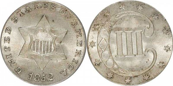 1852 Silver Three Cent Piece Trime