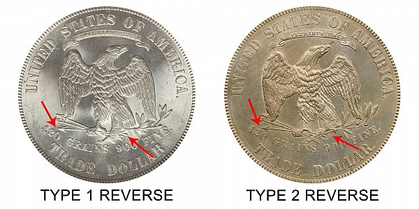 1875 Type 1 Reverse vs Type 2 Reverse Trade Silver Dollar - Difference and Comparison