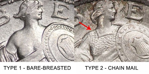 Type 1 vs Type 2 Obverse - Standing Liberty Quarter - Difference and Comparison