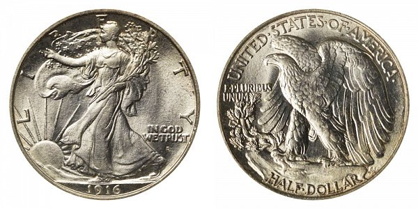 1916 D Walking Liberty Silver Half Dollar