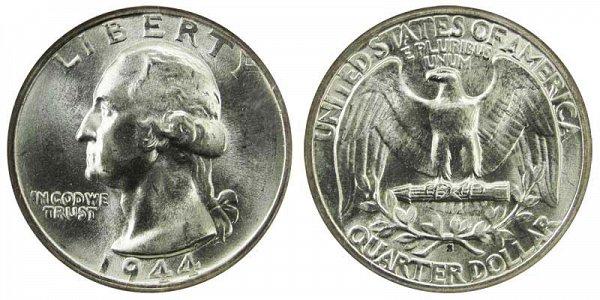 1944 S Washington Silver Quarter