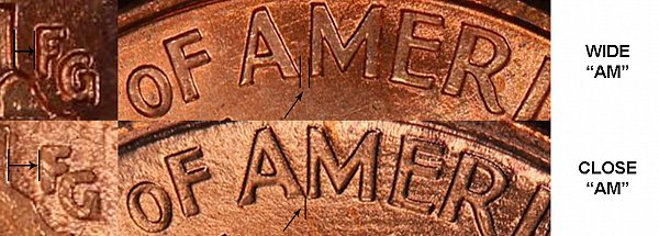 Wide AM vs Close AM  on Reverse of Lincoln Memorial Cent (Penny) - Difference and Comparison