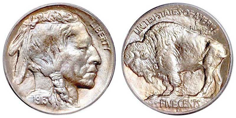 1913 Mound type (Type I) Buffalo nickel