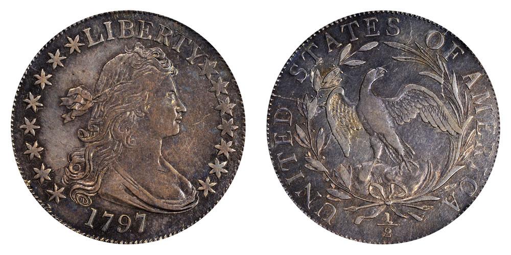 1797 Draped Bust Half Dollar 15 Stars Small Eagle Reverse