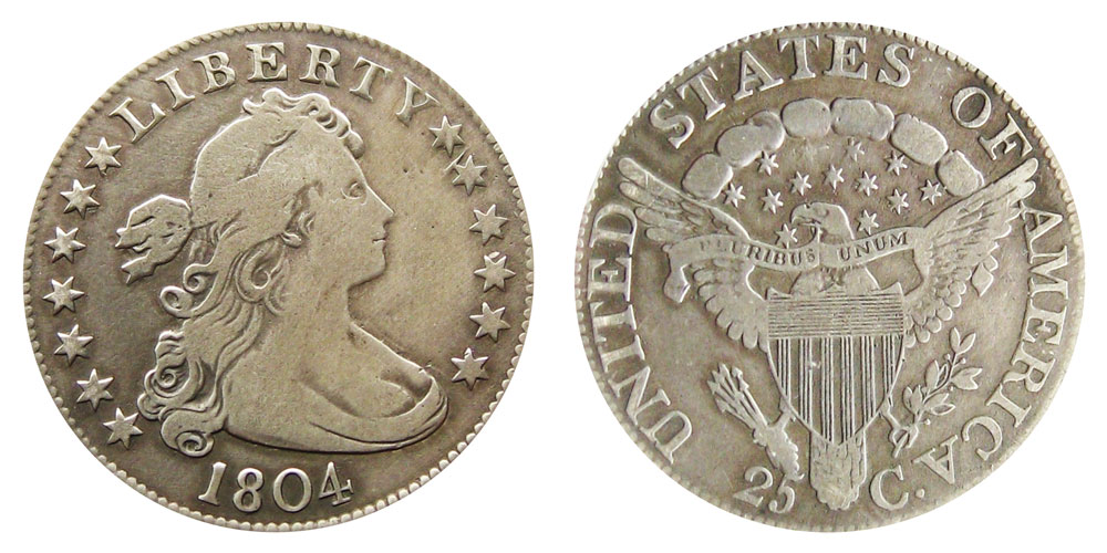 1804 P Draped Bust Quarters Heraldic Eagle Reverse Value