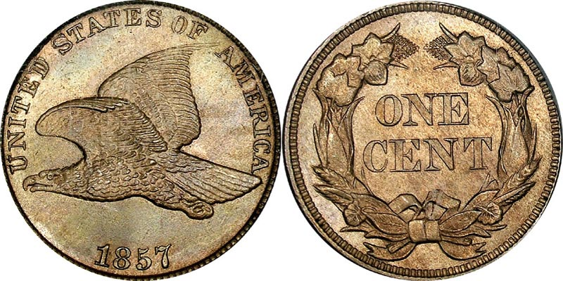 Flying Eagle Penny (1856-1858). Designer - Engraver: James B Longacre Metal