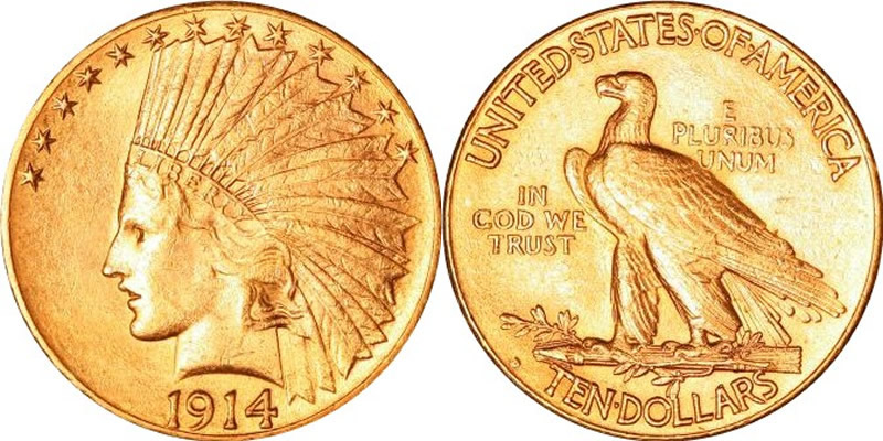 Indian Head Gold 10 Eagle Type 2 With Motto Us Coin
