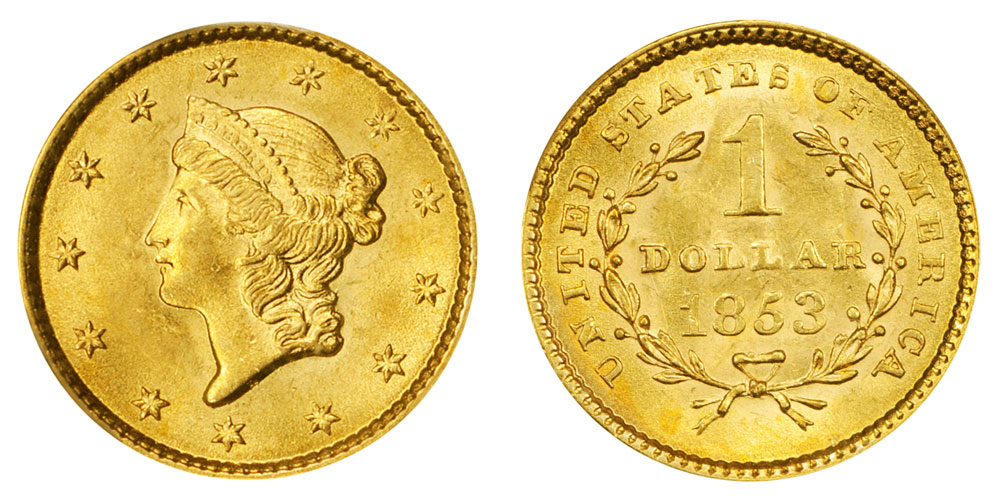1853 Liberty Head Gold Dollar Type 1