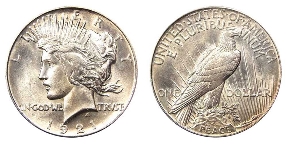 1921 U S Peace Silver Dollar Value