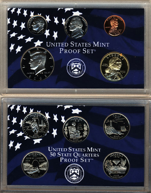 Complete and Original in BLUE  mint paper box 2005-s U.S Proof Set