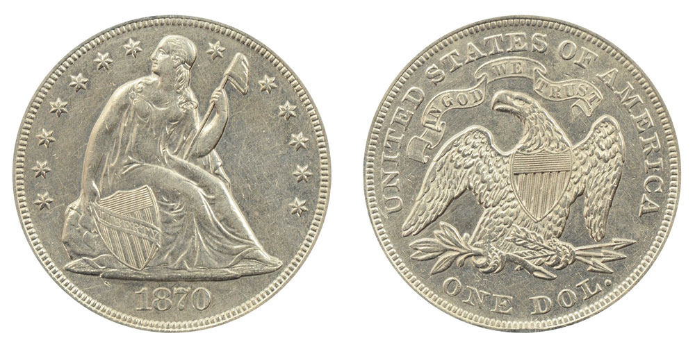 1870 Seated Liberty Silver Dollar Coin Value Prices
